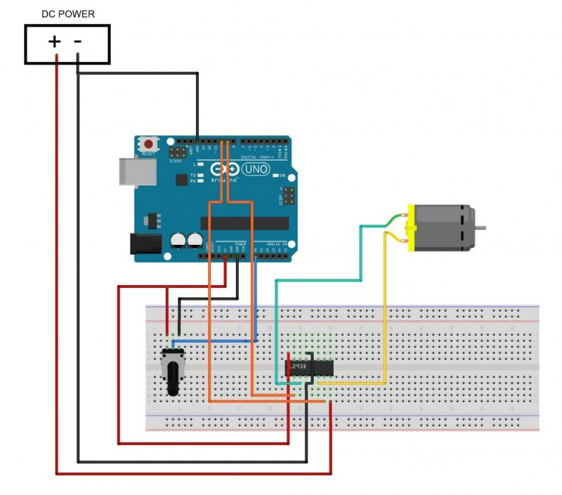Diagrama de conexión de un motor DC y potenciometro para modular la velocidad del motorreductor