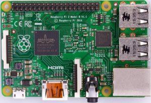 Fotografía de la placa Raspberry Pi 2 modelo B