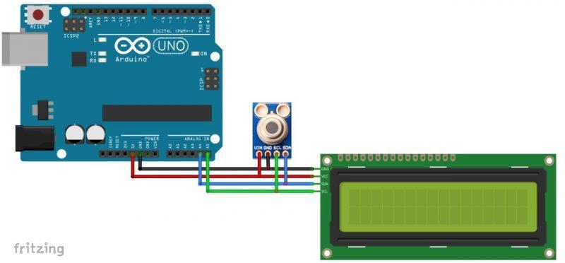 circuito de diagrama arduino módulo de temperatura IR