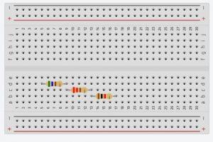 Conexión en protoboard de resistencias en Serie