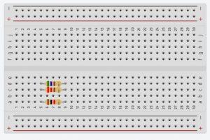 Conexión en protoboard de resistencias en Paralelo