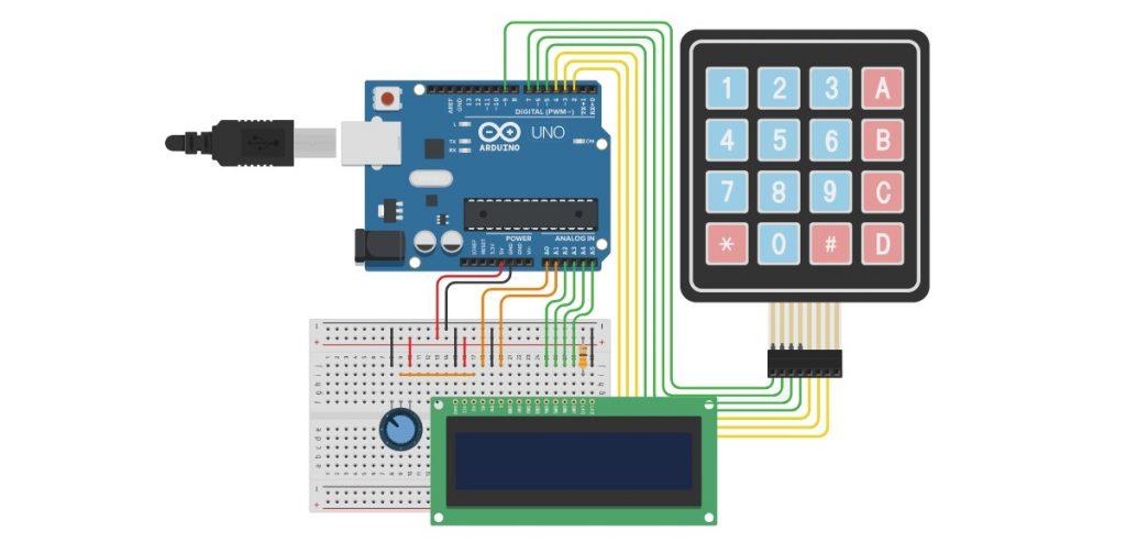 diagrama de practica de LCD, Arduino y teclado Matriacal 4x4