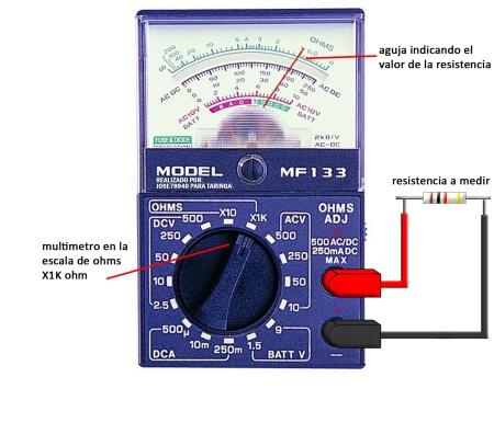 medicion de resistencias con Multimetro analogico