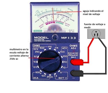 medicion de voltaje de ca con Multimetro analogico