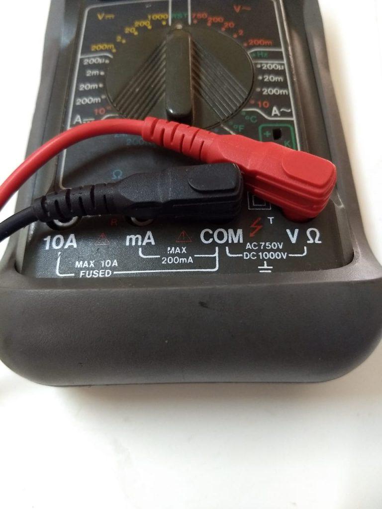 multimetro digital conexion de puntas